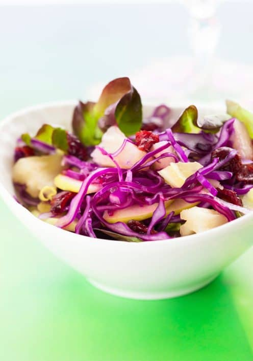 salad, apples, red cabbage