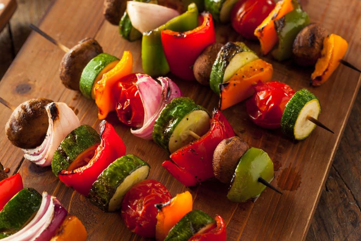 skewers, grilled vegetables, vegetable shish kabobs