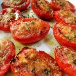 fresh tomatoes, grilled tomatoes, grilled parmesan tomatoes, parmesan