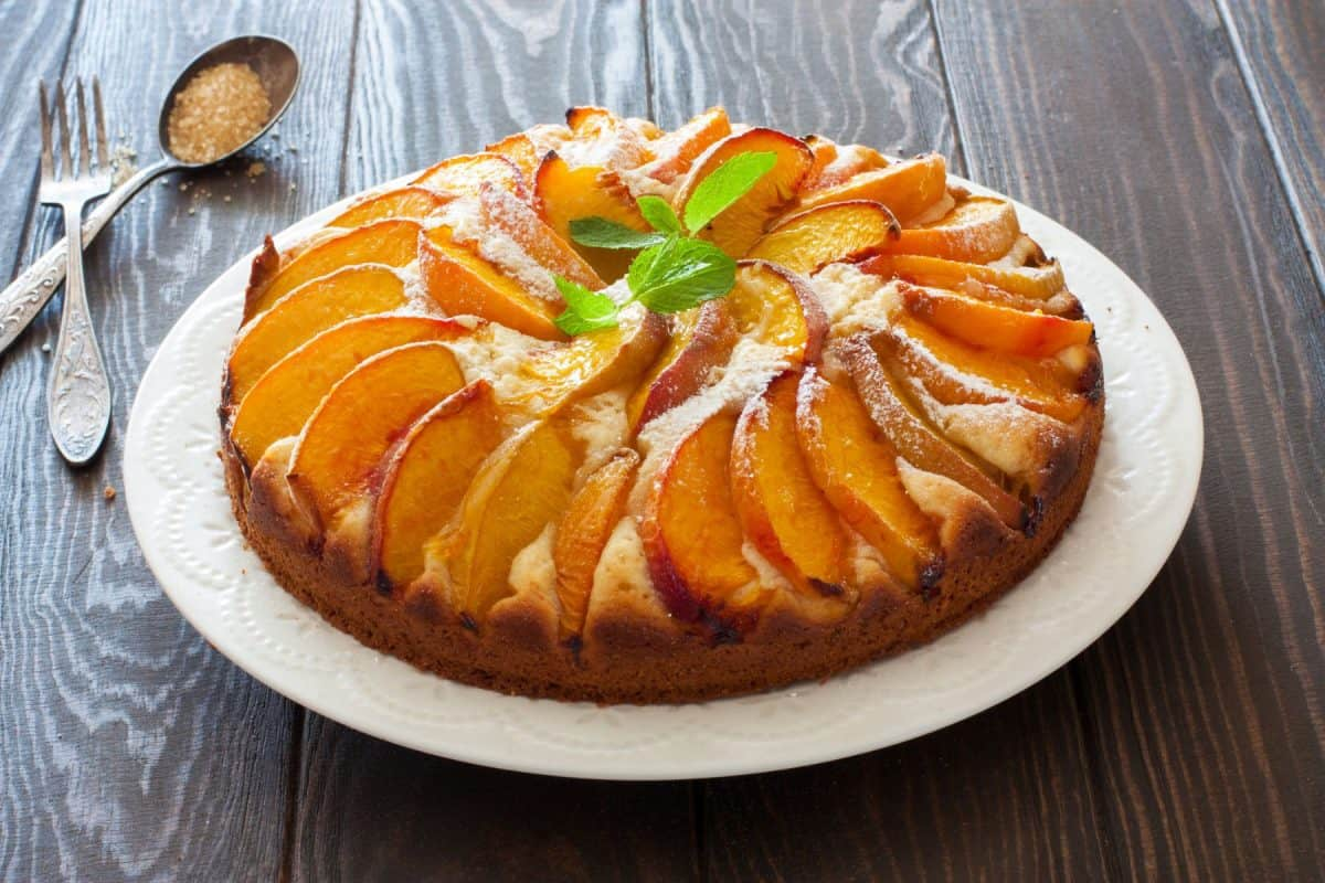 peach, upside-down cake, national peach month